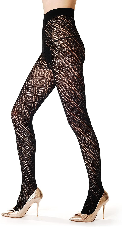 Winter Warm Diamonds - Black Lace Geometrical Opaque Pantyhose (Tights)