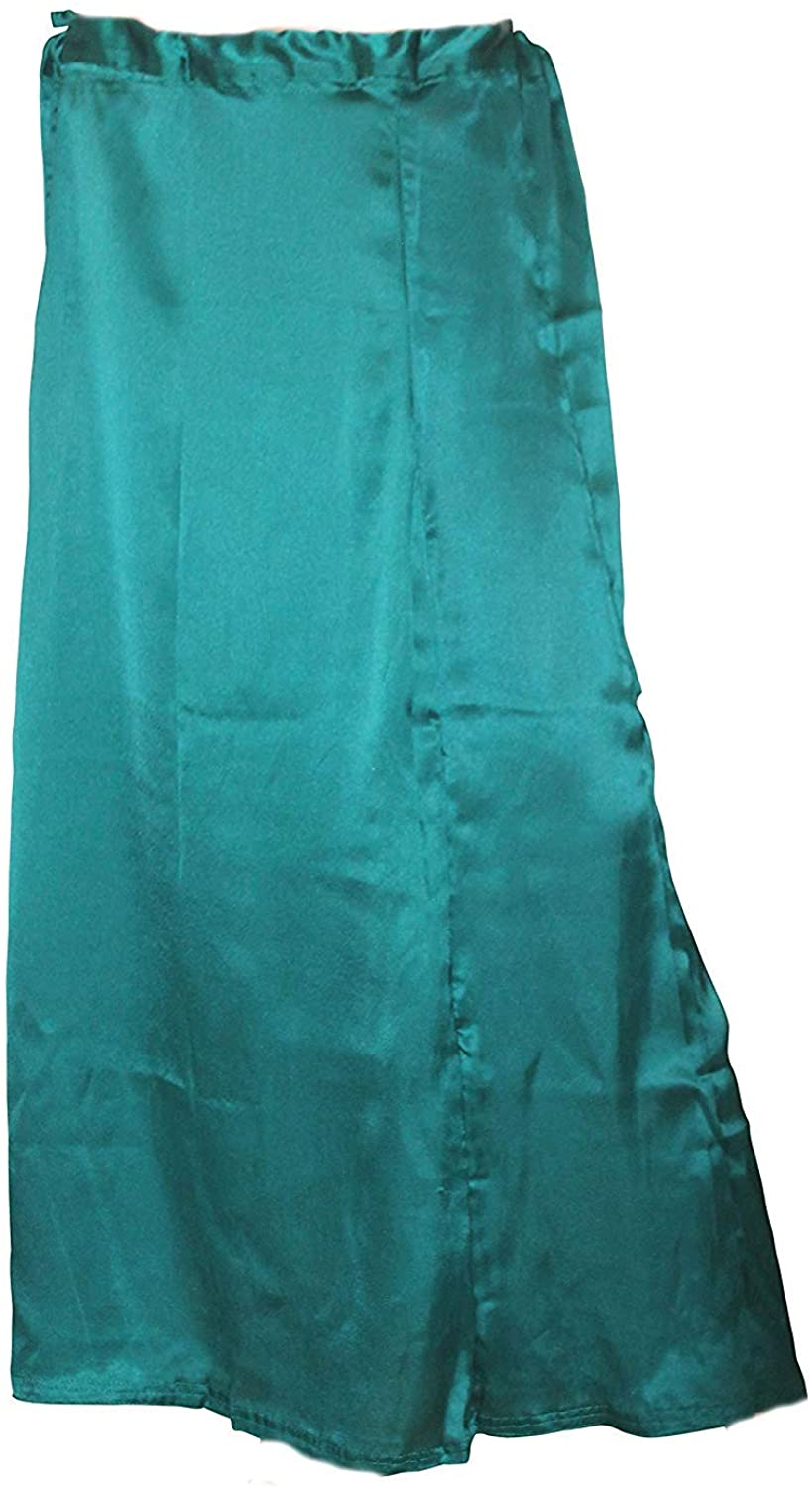 Women's Satin Silk Readymade Teal Indian in Skirt Saree Petticoats Underskirt - Free Size