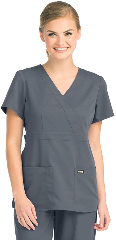 Grey's Anatomy 4153 Women's Mock Wrap Top Granite XL