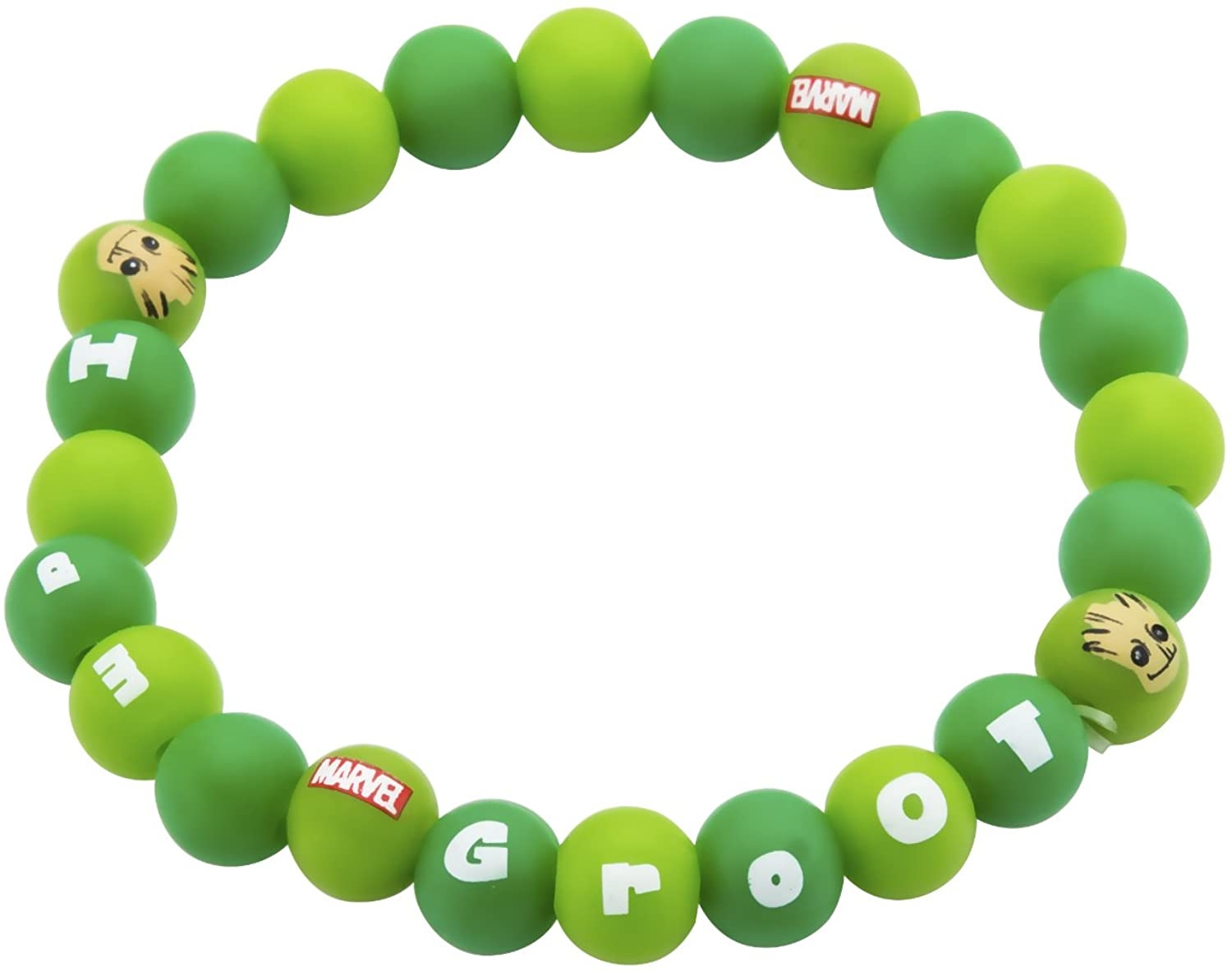 Marvel Comics Women's Guardians of The Galaxy Groot Silicone Beads Stretch Bracelet, Green, Expandable
