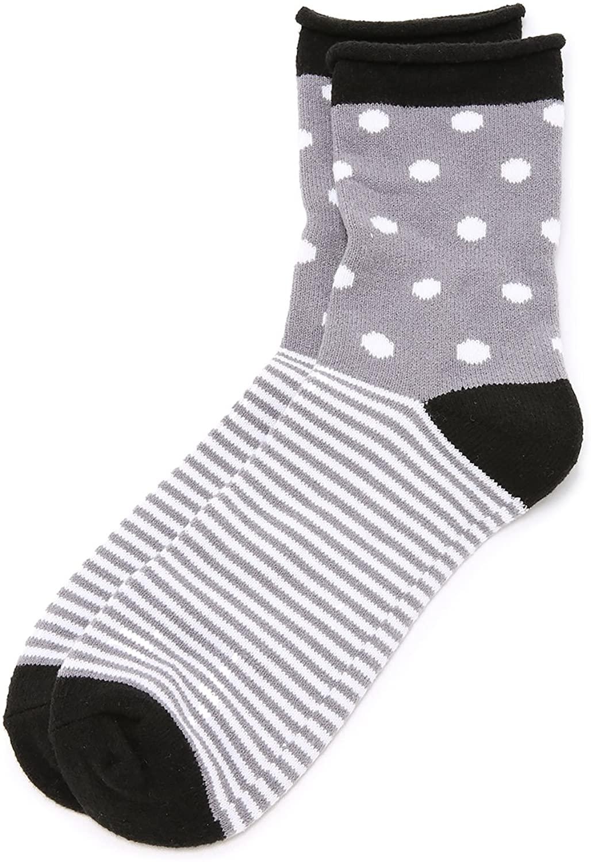 Plush Women's Dot Stripe Rolled Fleece Socks