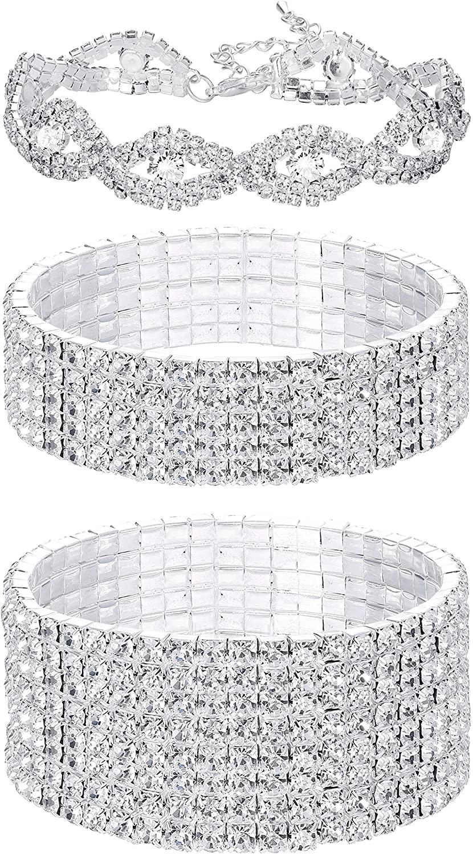 FIBO STEEL 3 PCS Rhinestone Stretch Bracelets for Women Bridal Sparkly Wedding Strand Tennis Bracelet Set Silver-Tone