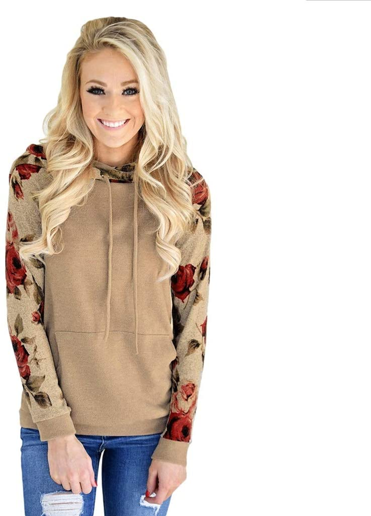 DAZM Womens Hooded Sweatshirt Floral Printed Long Sleeve Drawstring Pullover with Kangaroo Pockets Tops (Color : Brown, Size : M)