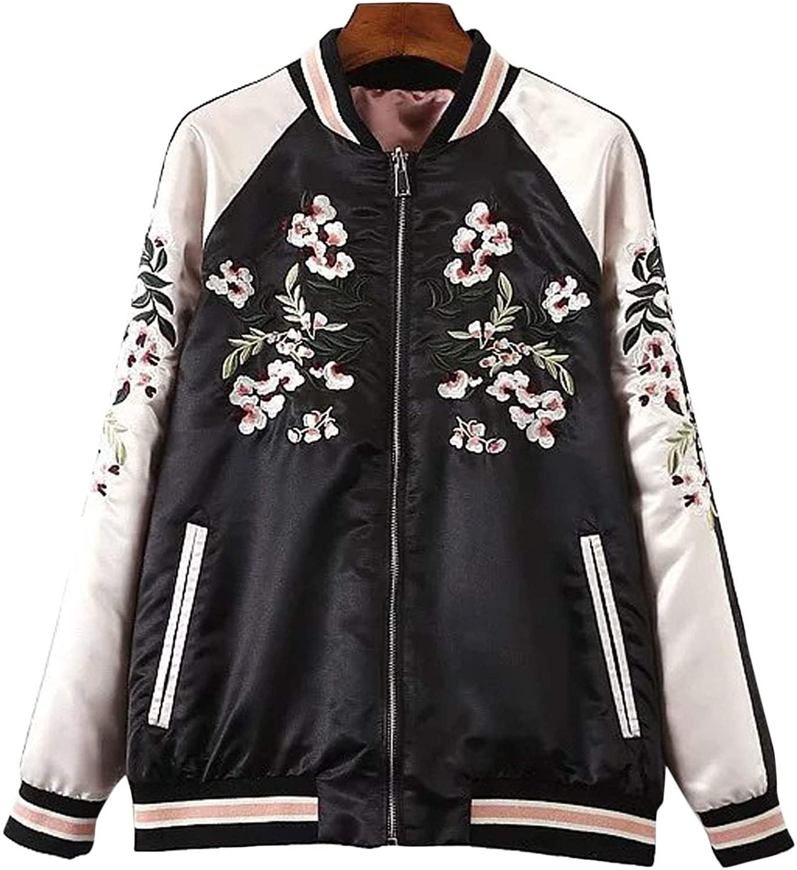 Flygo Women's Reversible Floral Embroidery Satin Baseball Bomber Jacket