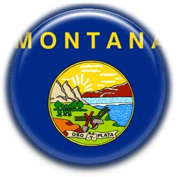 Montana : United States Flag, Pinback Button Badge 1.50 Inch (38mm)