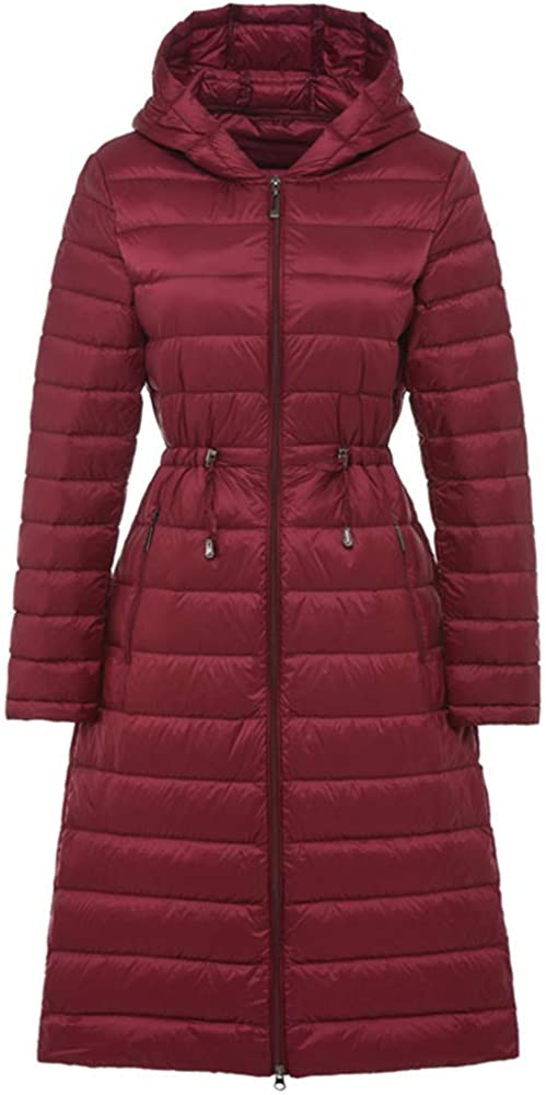 Dotoo Autumn Winter 90% White Duck Down Womens Long Section Light Down Jacket Hooded