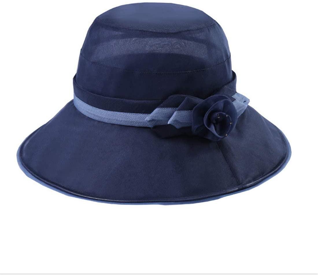 TTjII Womens Summer Sun Beach Hat Foldable Wide Brim Cocktail Party Wedding Hat (Navy)