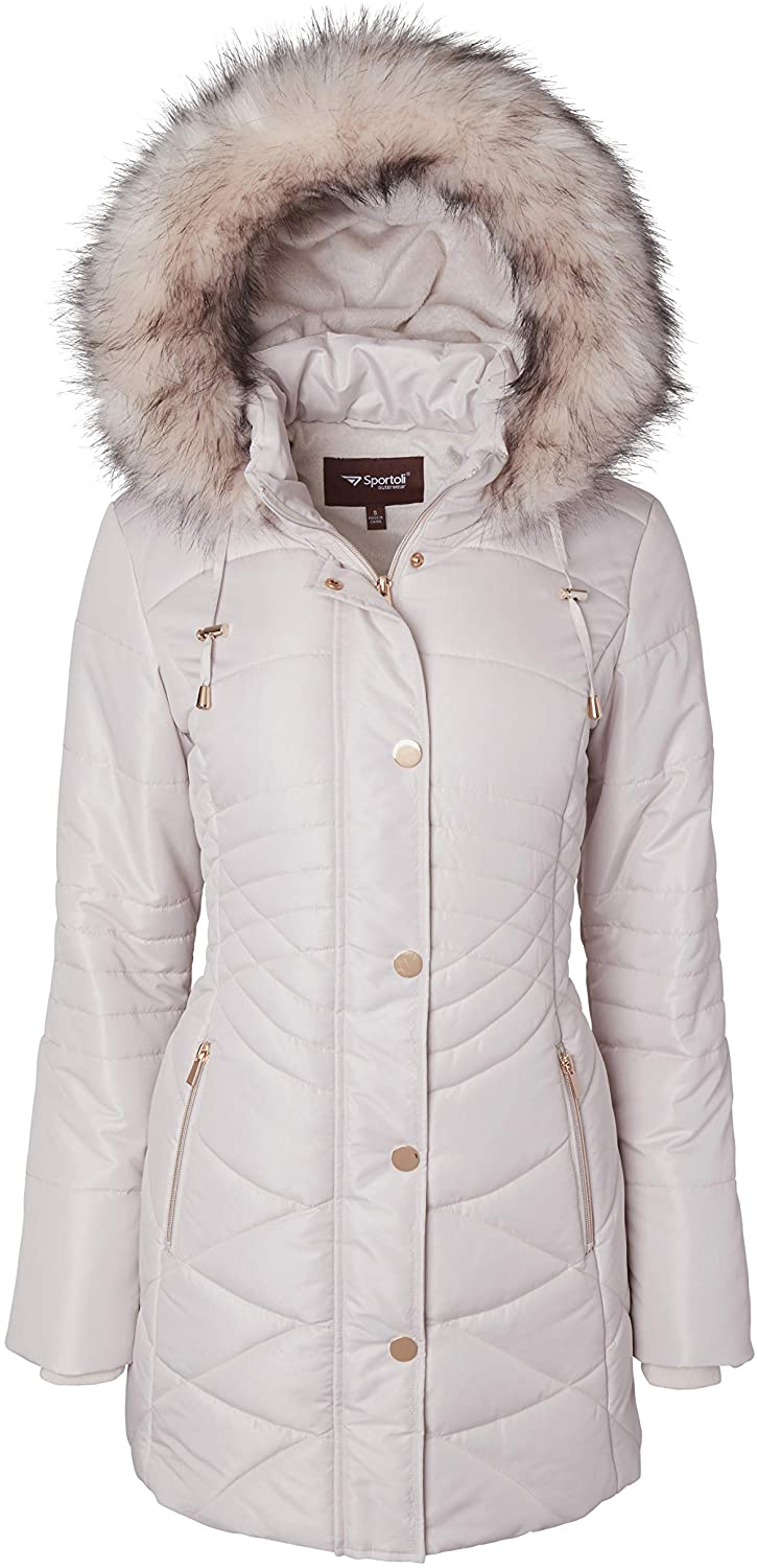 Women Longer Length Plush Lined Quilted Winter Puffer Coat Zip-Off Fur Trim Hood