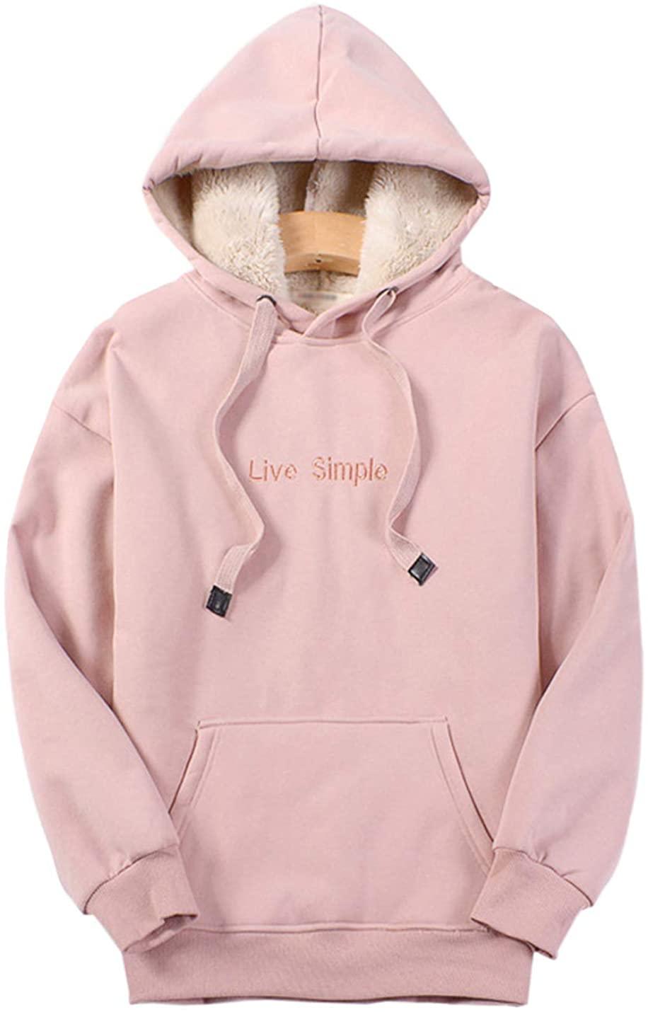 Gihuo Women's Winter Sherpa Lined Pullover Sweatshirt Hoodie