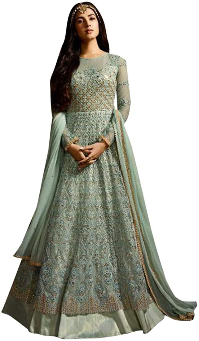 Blue Indian Bollywood style Festive Net Anarkali Salwar Suit Women Fancy Party wear Custom to Measure 8709