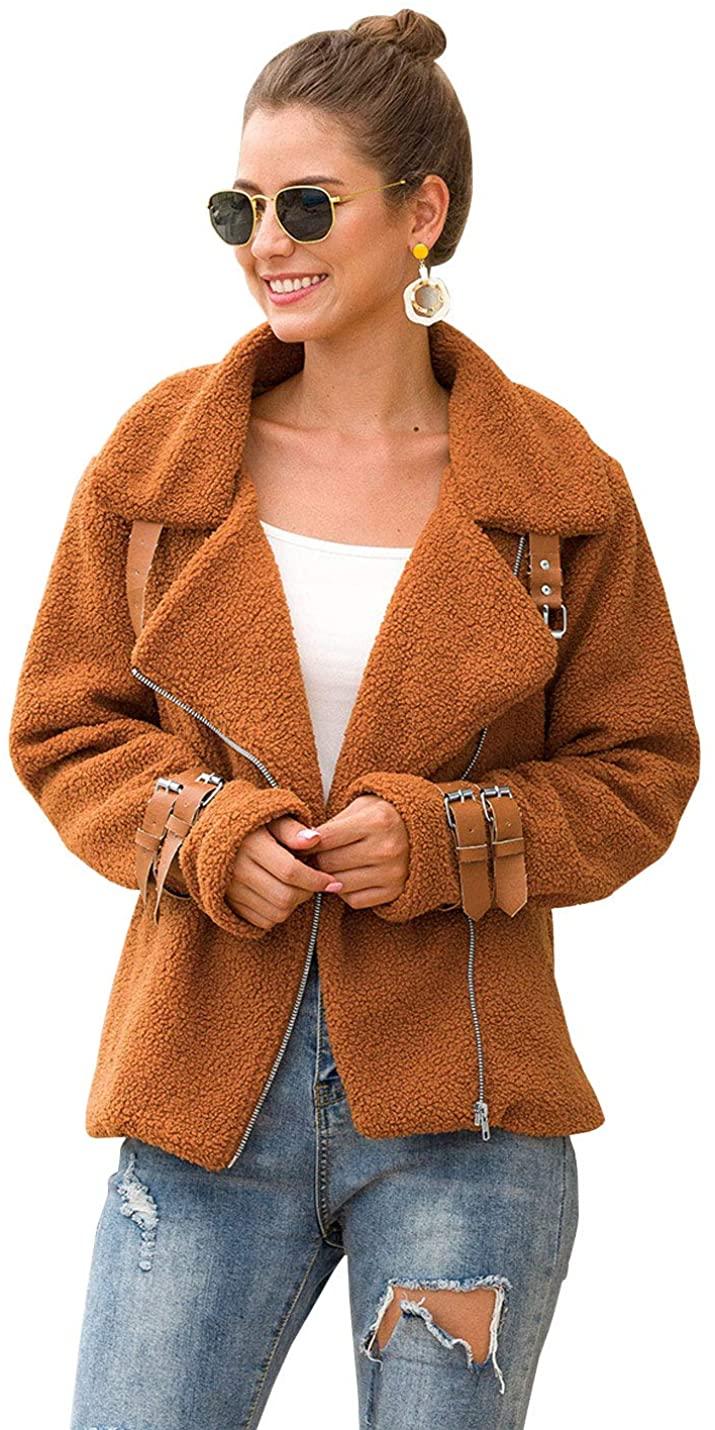 D.B.M Women's Long Sleeve Solid Color Lapel Diagonal Zipper Velvet Fur Jacket