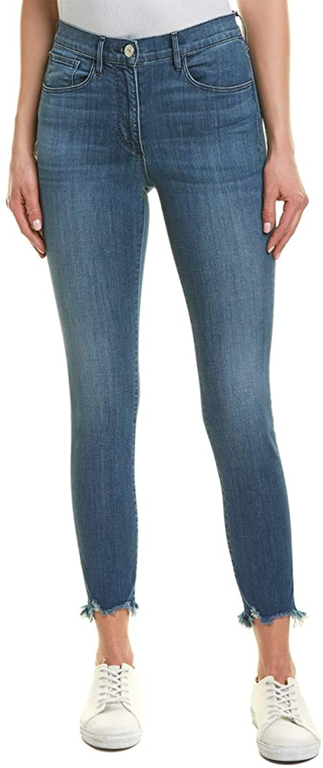 3 X 1 Women's W3 Remo Crop Skinny Jeans Fringed Edges
