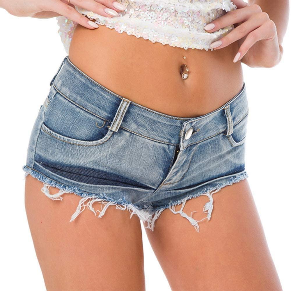 MUYDZ Women's Sexy Summer Cutting Torn Low Waist Hot Pants Nightclub Beach Denim Shorts