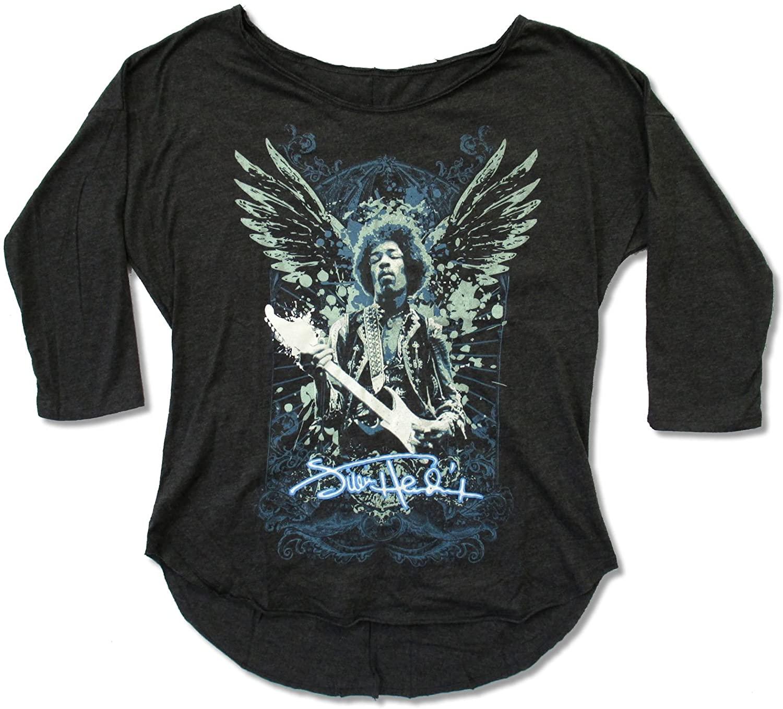 Zion Juniors Jimi Hendrix Wings Charcoal 3/4 Sleeve Tee Shirt