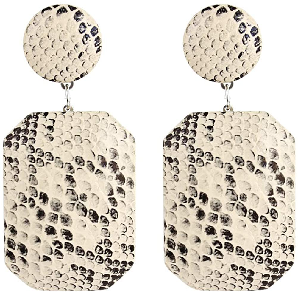 Women's Fashion Leather Earrings Snakeskin Print Big Geometric Dangle Drop Faux Leather SnaKe Earrings