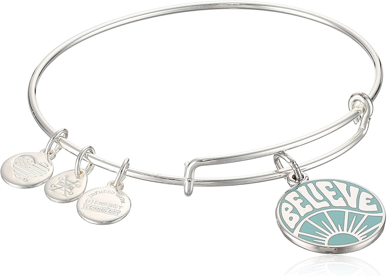 Alex and Ani Womens Words are Powerful, Believe EWB Bangle Bracelet, Shiny Silver, Expandable