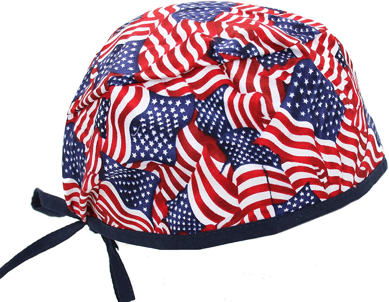 Stars & Stripes USA American Flag w Blue Trim Scrub Cap Hat