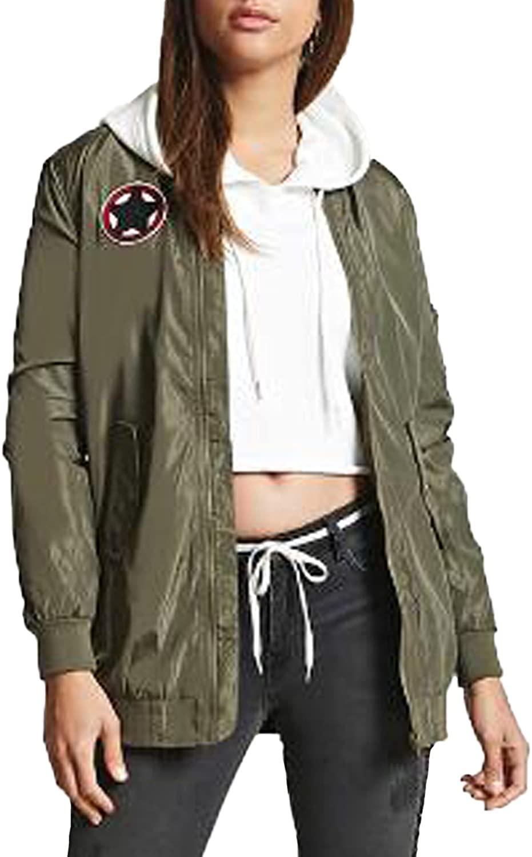 Kidsform Women's Winter Long Sleeves Lightweight Quilted Pocket Coat Bomber Jacket