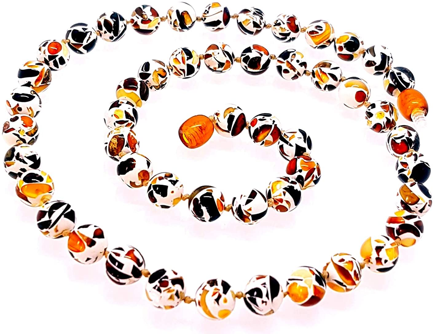 AMBERMILANA Necklace with Baltic Amber/Round Beads/Unisex
