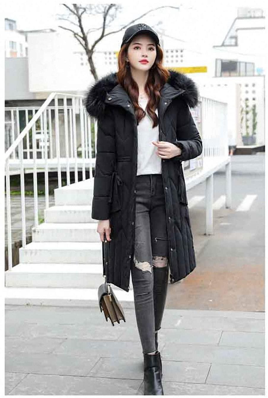 Winter Long Down Cotton Coat Women Thick Warm Fur Collar Plus Size Cotton Jacket Hooded Parka Female Jacket Black 5XL