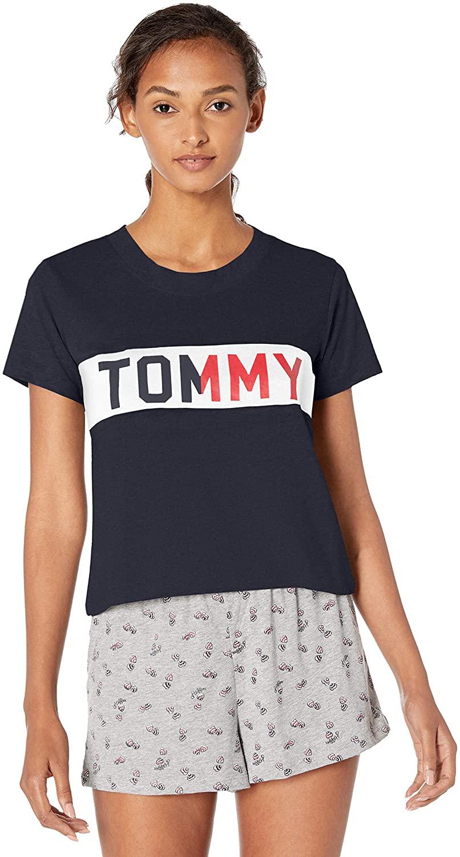 Tommy Hilfiger Women's Short Sleeve Cotton Tee Shirt with Hilfiger Logo Lounge Pj