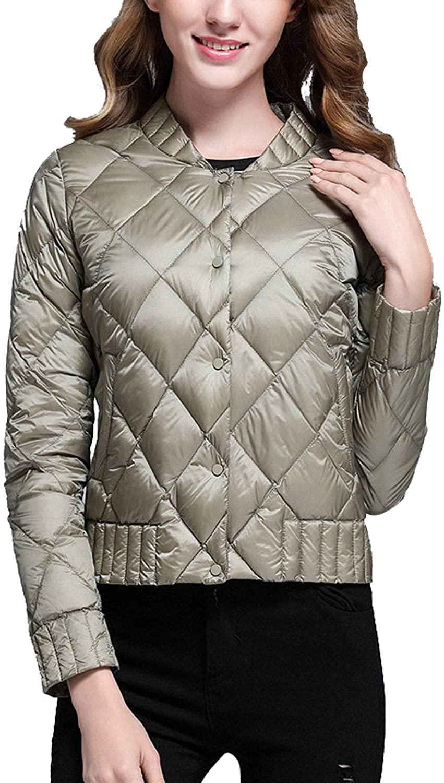 Flygo Women's Lightweight Packable Diamond Quilted Coat Slim Fit Jacket