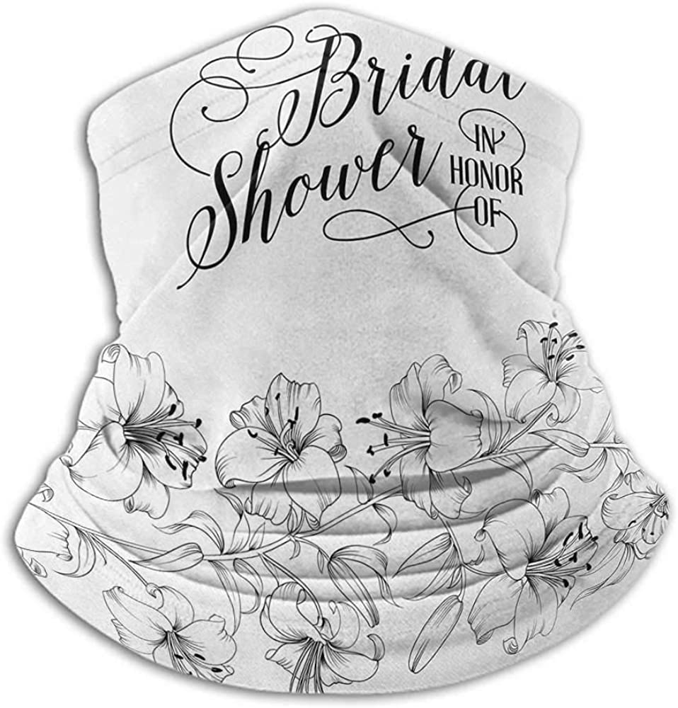 Bandanas For Men Bridal Shower Cold Weather Face Cover Romantic Bride Party with Flowers Buds and Leaves Floral Arrangement Black and White