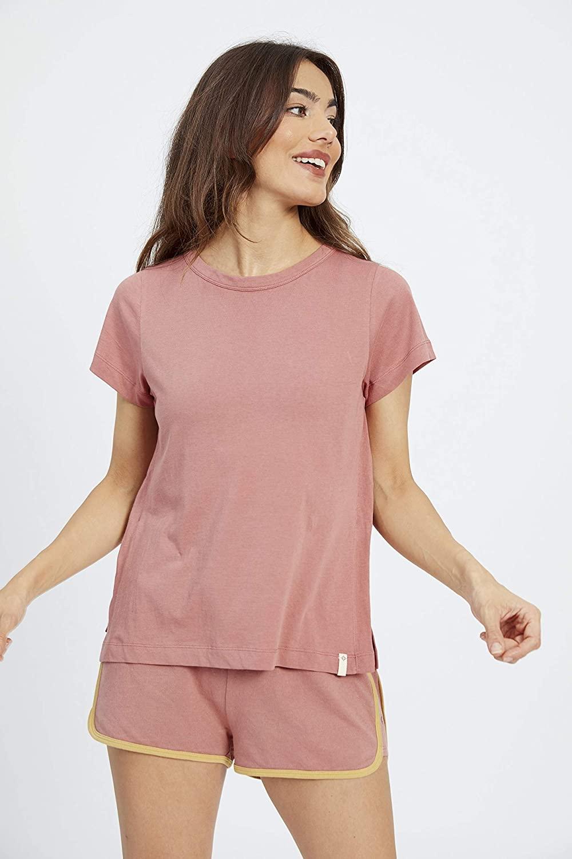 Satva Women's Super Soft 100% Organic Cotton Everyday Lounge Short Sleeve Tshirt - Andot, Dark Mauve, XS