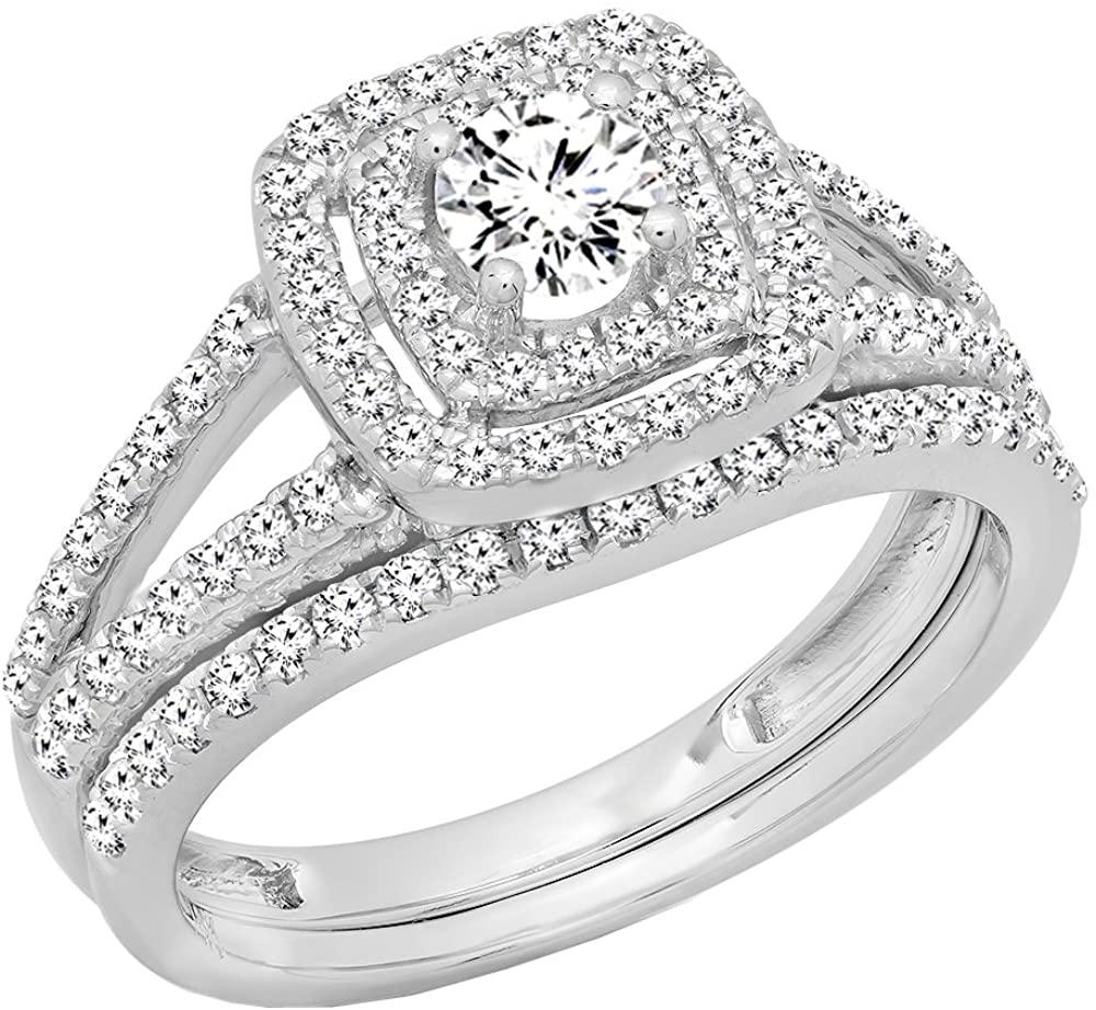 Dazzlingrock Collection 1.00 Carat (ctw) 10K Gold Round Diamond Split Shank Halo Engagement Ring Set 1 CT