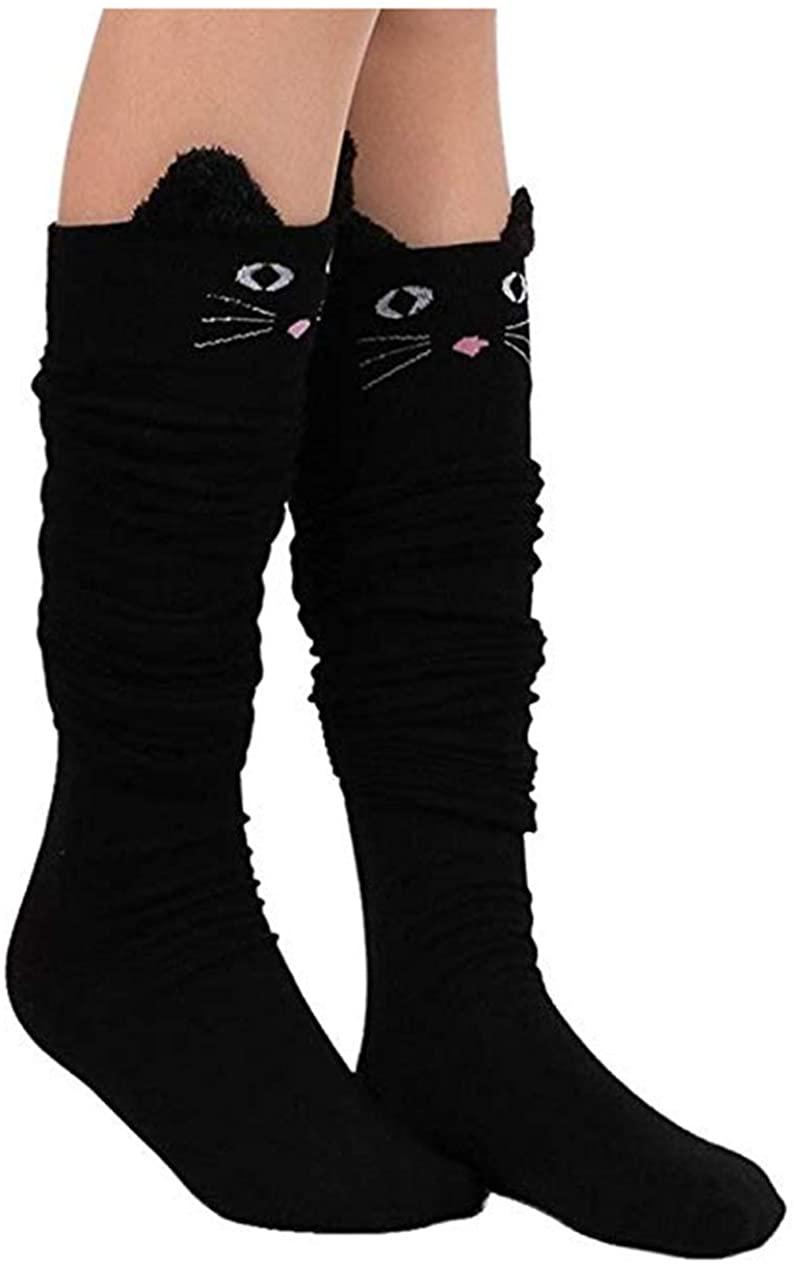Womens Knee High Socks, womens socks, PXH Ladies Cat Catoon Cute Novelty Long Socks Over Knee High Sock. Black 58cm/22.83
