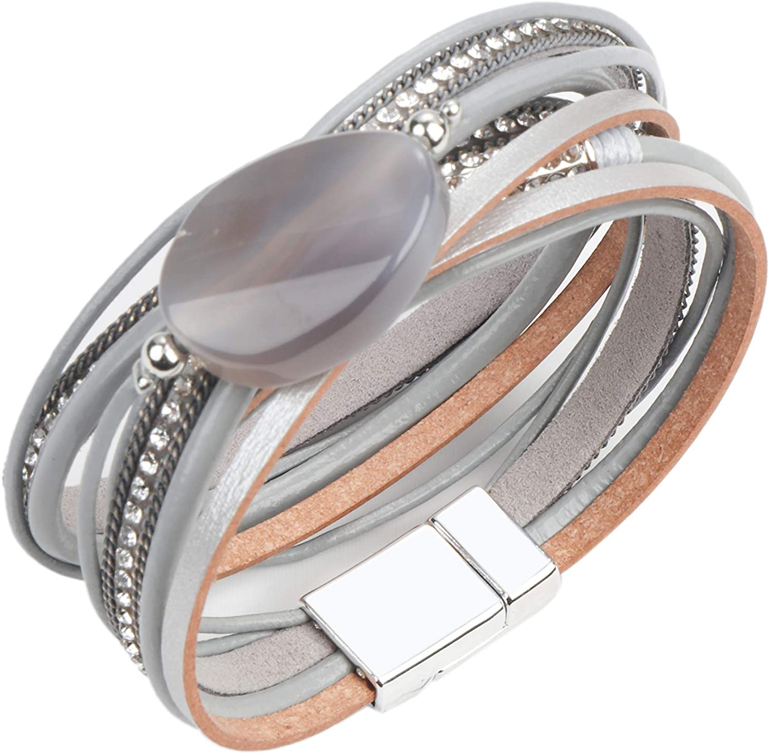 Women Leather Wrap Bracelet Multilayer Braided Stacking Bracelet with Magnetic Clasp - Bohemian Style Gift for Women