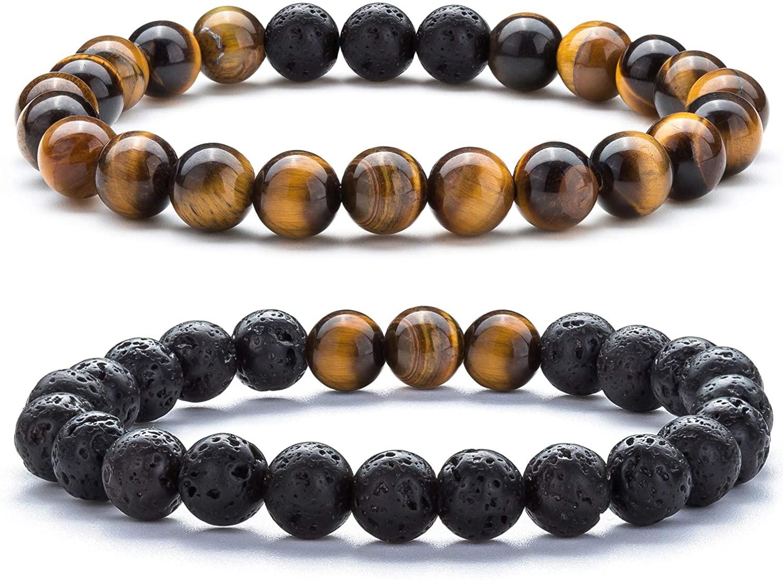 Hamoery Graduation Gifts Mens Women 8mm Anxiety Bead Bracelets Lava Rock Essential Oil Diffuser Yoga Bracelet Bangle