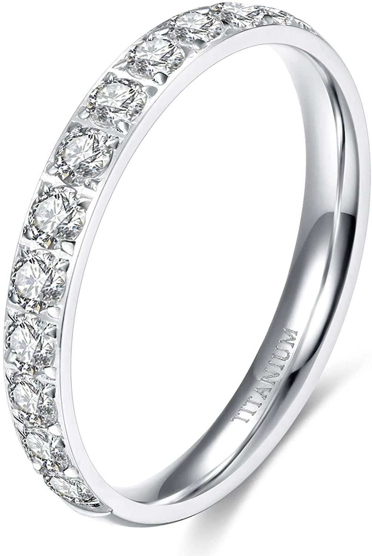 TIGRADE 3mm Womens Titanium Eternity Rings Half Cubic Zirconia Statement Wedding Engagement Band