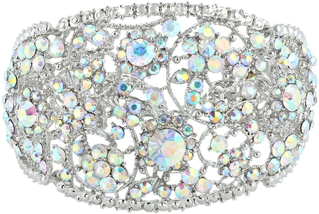 EVER FAITH Art Deco Wave Bracelet for Women Girl Iridescent Clear AB Austrian Crystal Silver-Tone