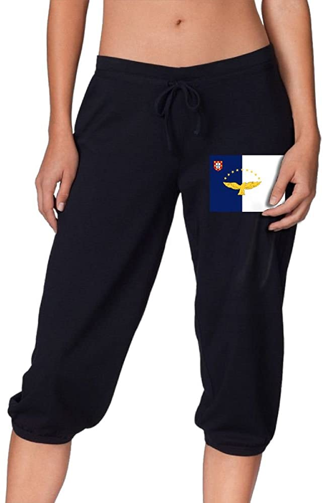 Flag of The Azores Cool Women's Cropped Trousers Casual Pants Jogger Sweatpants