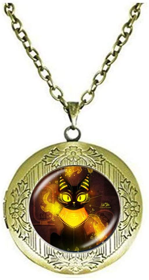 Ancient Egyptian Cat Goddess Locket Necklace Egypt Lord Amulet Jewelry Art Photo Jewelry Birthday Festival Gift Beautiful Gift