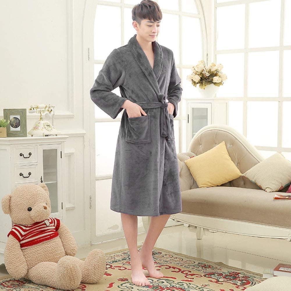 llwannr Bathrobe Robe Nightgown Sleep,Ladies and Men Long Bathrobe Women Silk Flannel Kimono Bath Robe Bridal Wedding Bridesmaid Robes Dressing Gown,Men Gray,M