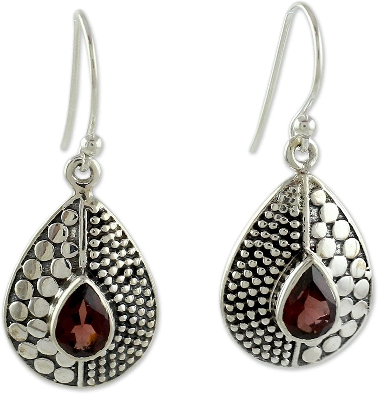 NOVICA Garnet .925 Sterling Silver Dangle Earrings 'Scarlet Fusion'