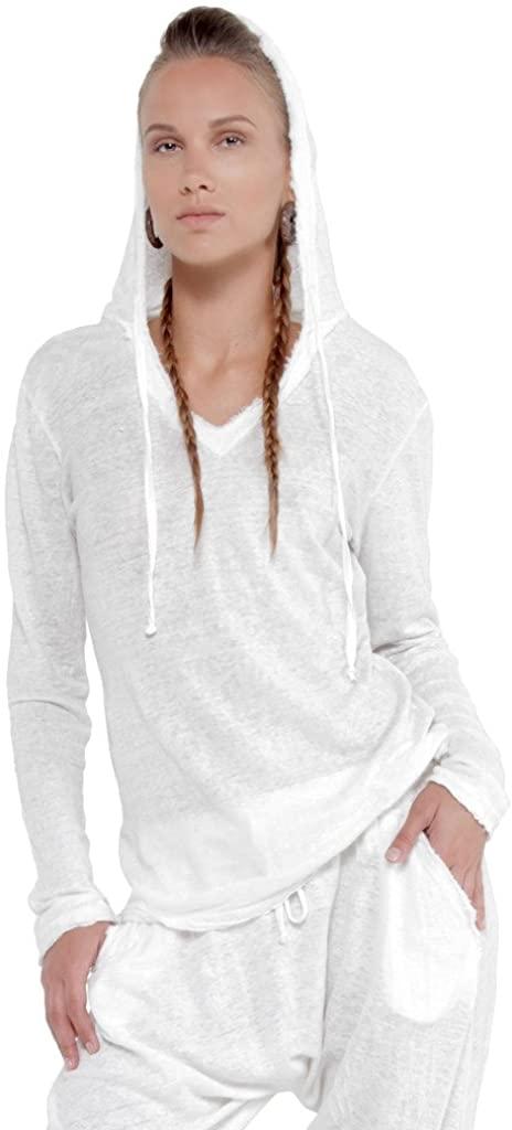 Claudio Milano Women's 100% Jersey Linen Long Sleeve Hoodie Tee Shirt