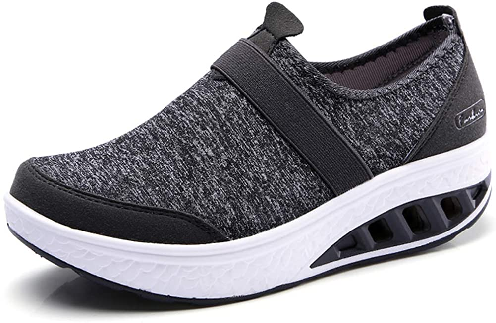 ZYEN Womens Comfortable Walking Shoes Fashion Slip On Sneakers Platform Wedge Mesh Loafers Shoes