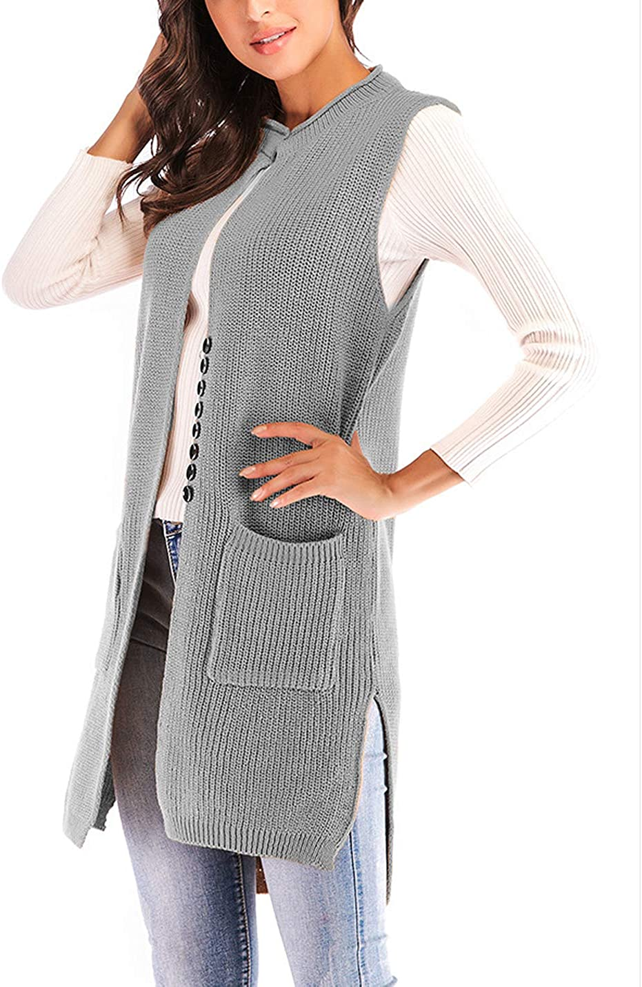 HUPOO Women's Casual Sweater Vests Buttons Mid-Long Knitted Top Coats