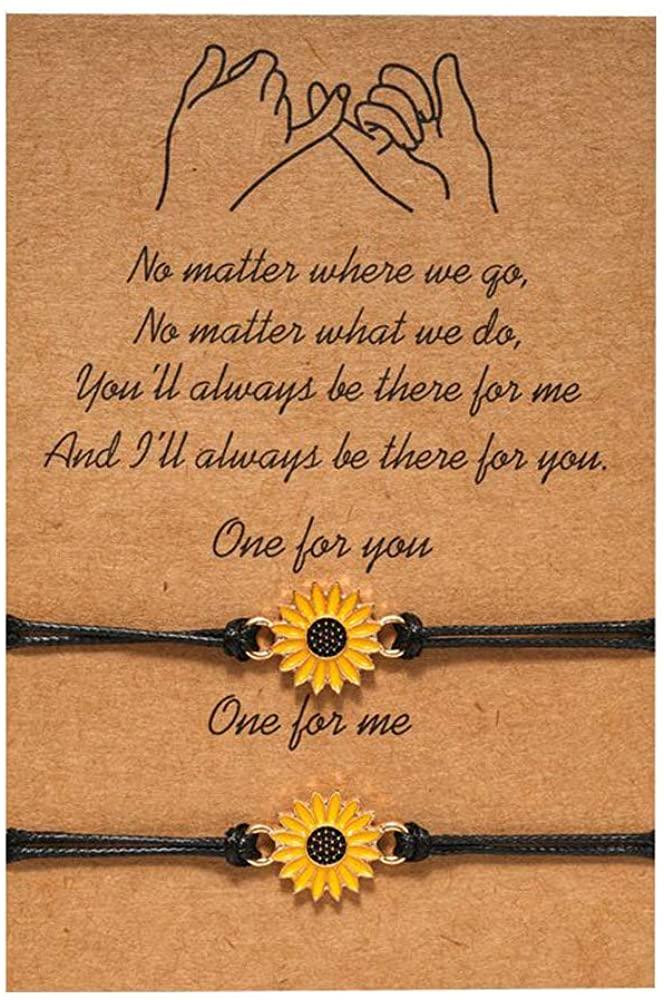JEVI Sunflower Boho Bracelet Friendship Jewelry for Women Girl Friend Handmade Distance Bracelets for 2