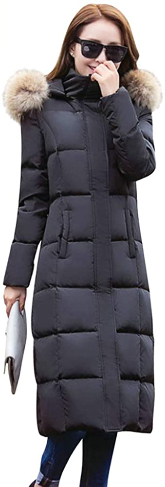 ELFJOY Women's Long Down Coat Thickened Zipper Warm Puffer Jacket with Fur Hood for Winter
