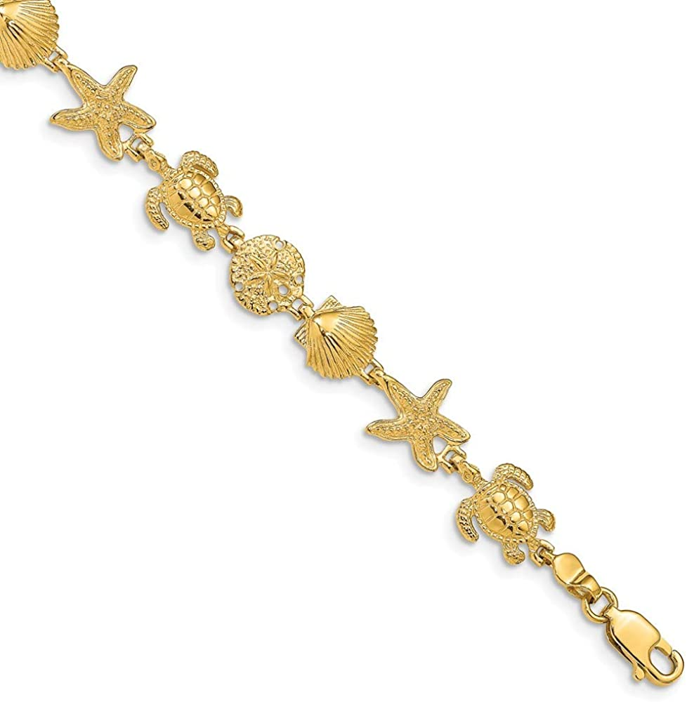 Beautiful Yellow gold 14K 14k Turtle Sand Dollar Shell and Starfish 7.25in Link Bracelet