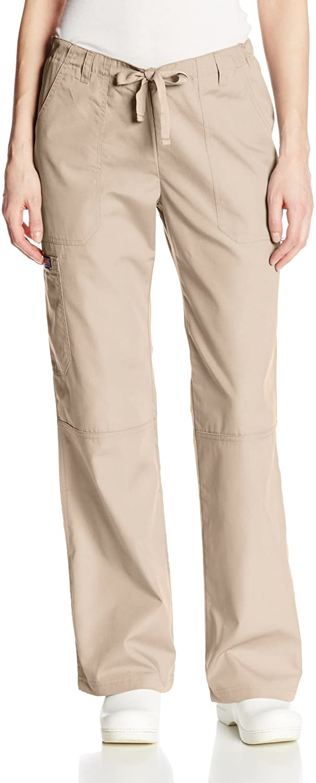 Cherokee Women's Size Low Rise Drawstring Cargo Scrub Pant, Khaki, Large Tall
