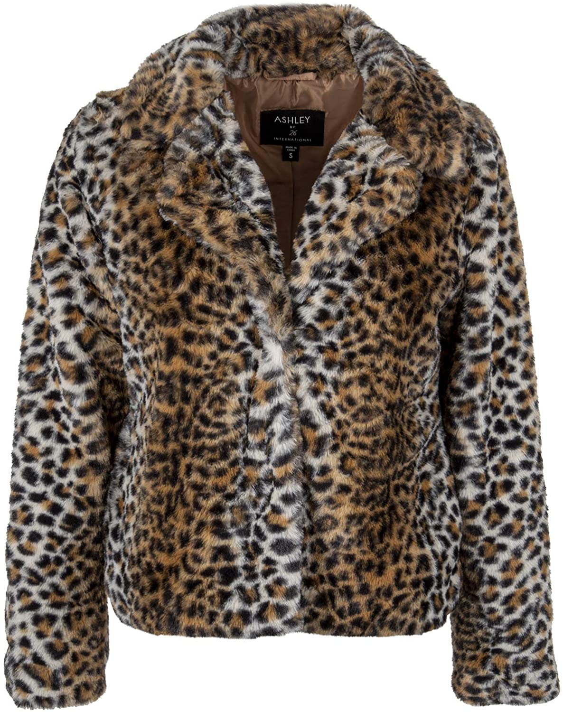 Womens Cheetah Leopard Animal Print Faux Fur Sherpa Short Coat Plush Jacket