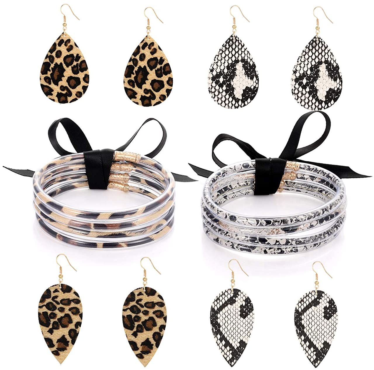 Leopard Print Bangle Bracelet Drop Earrings for Women Cheetah Leather Snakeskin Print Jewelry Set