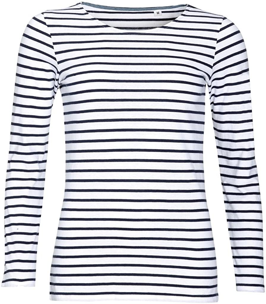 SOL'S Womens/Ladies Marine Long Sleeve Stripe T-Shirt