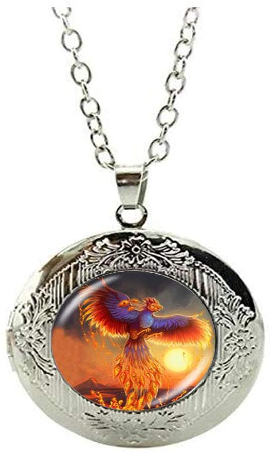 Beautiful Fire Phoenix Locket Necklace Glass Art Photo Jewelry Birthday Festival Gift Beautiful Gift