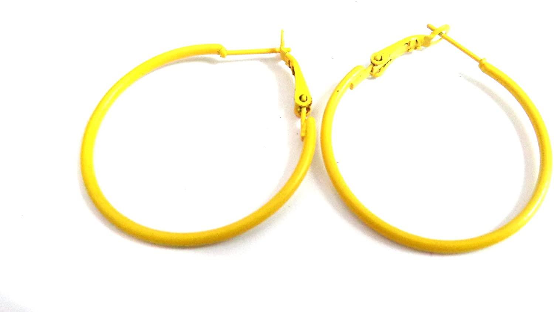 Color Hoop Earrings Simple Thin Hoop Earrings 1 Inch Yellow Hoop Earrings